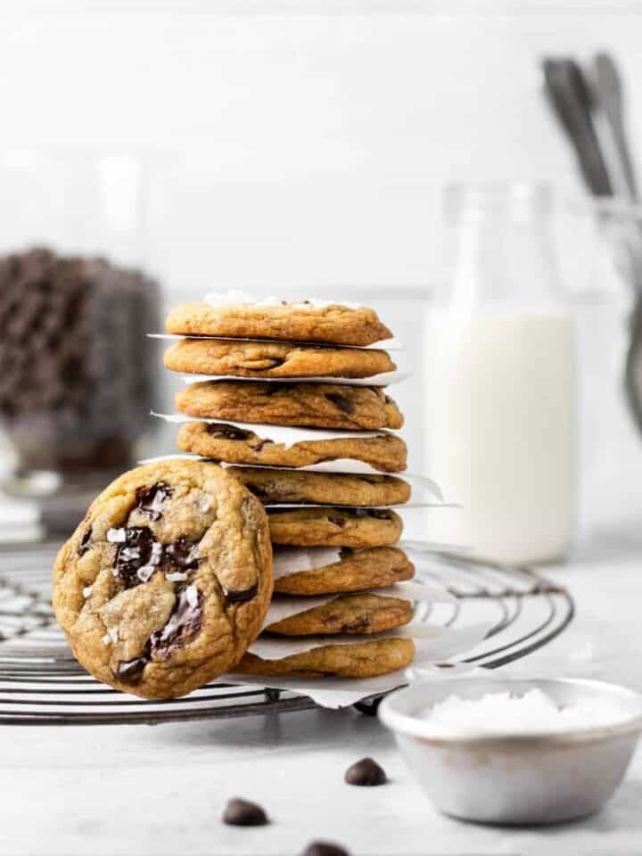 stack of Brown Butter Chocolate Chip Cookies - soft, chewy, and delicious topped with flaky sea salt