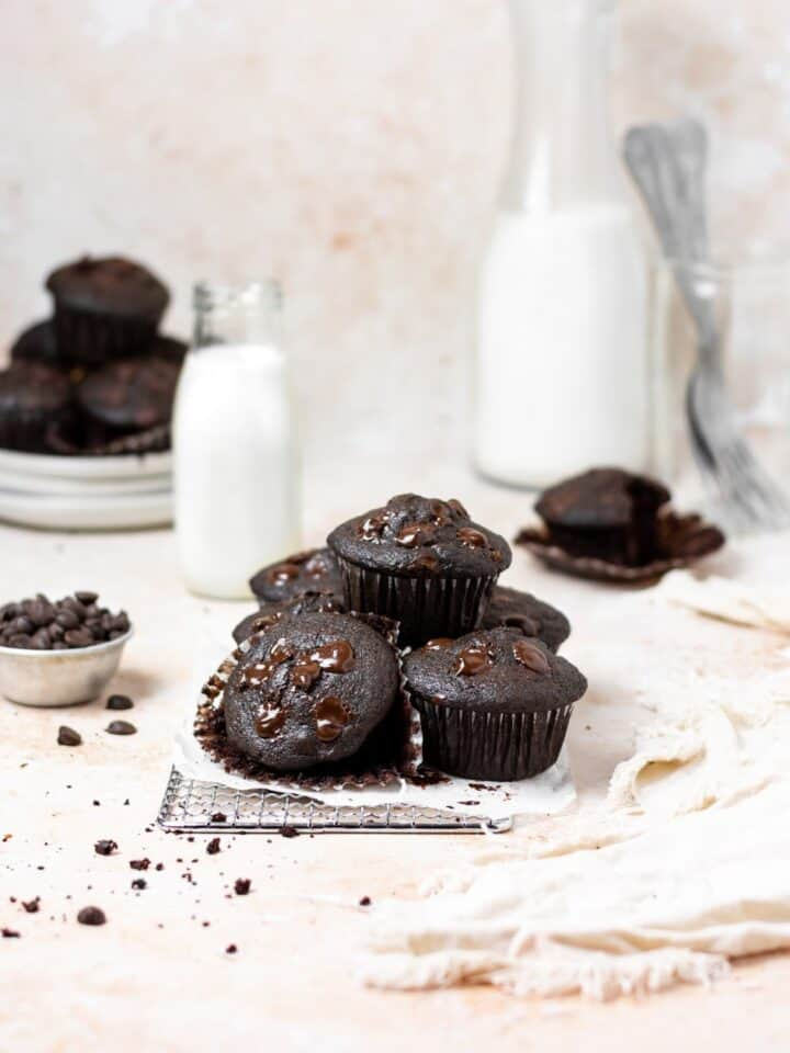 Vegan Double Chocolate Muffins Tabelescape