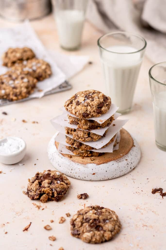 a stack of healthy oatmeal cookies