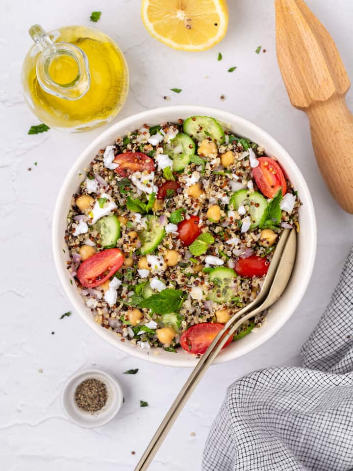 quinoa tabbouleh salad mixed in a bowl