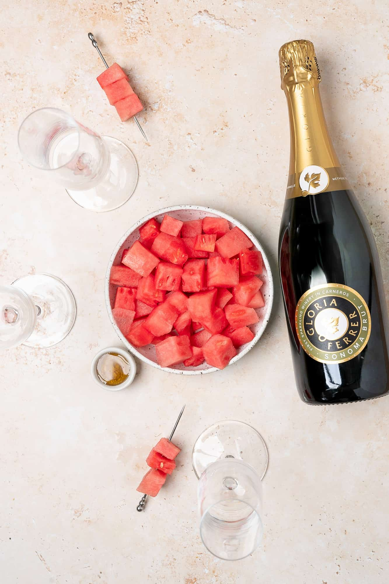 ingredients for watermelon mimosas