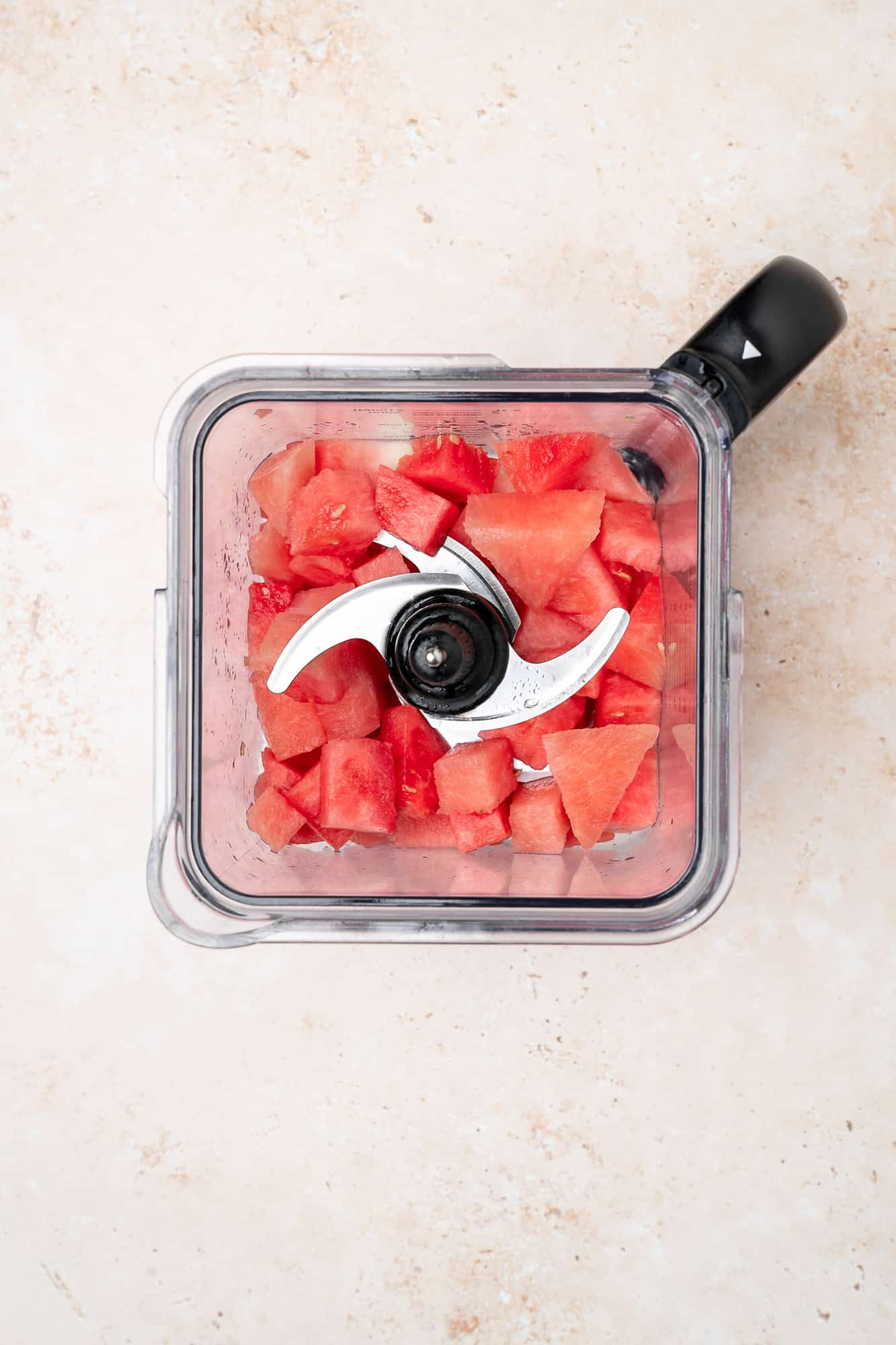 cubed watermelon in a blender