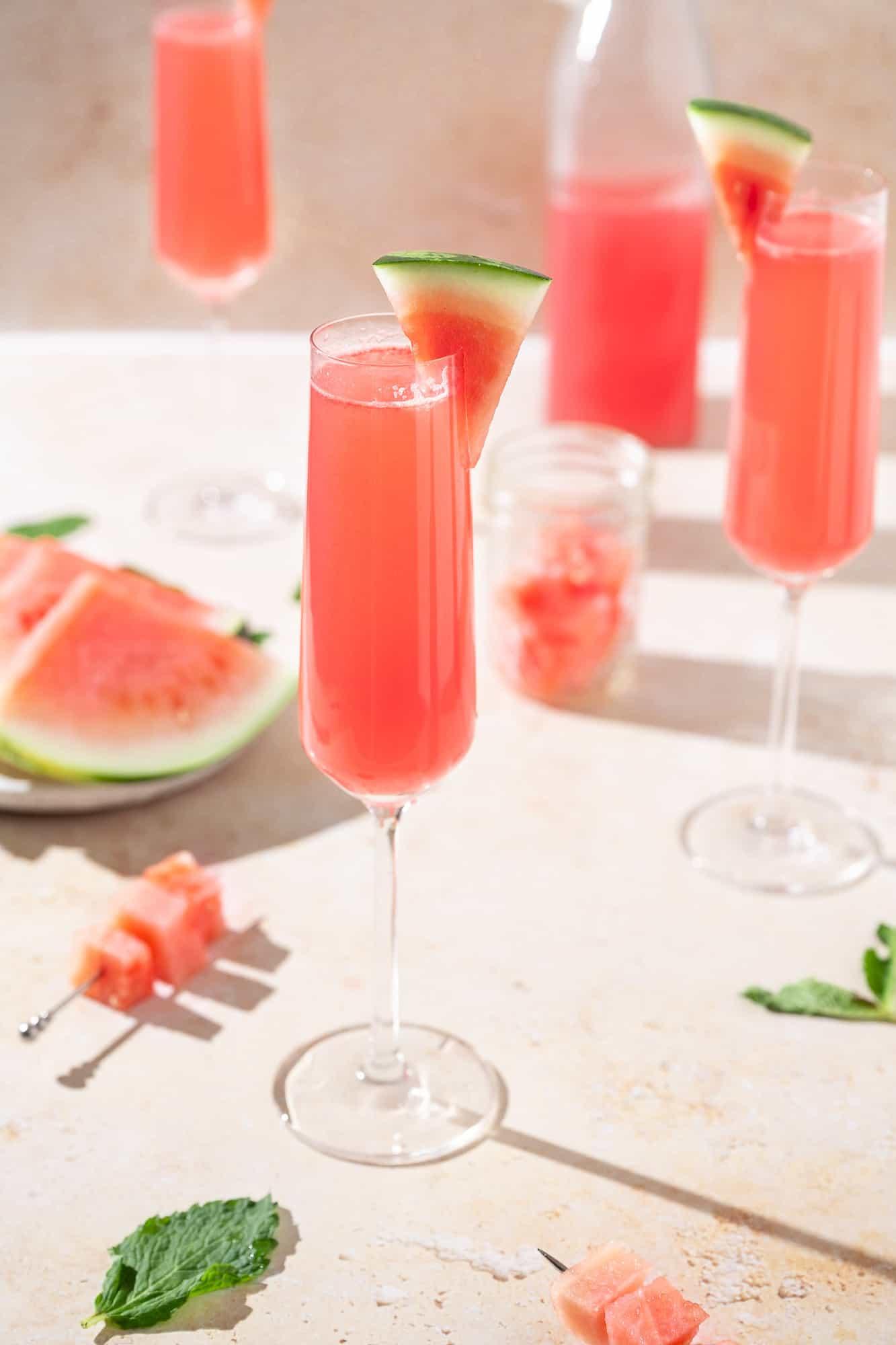 vegan summer cocktail: watermelon mimosas
