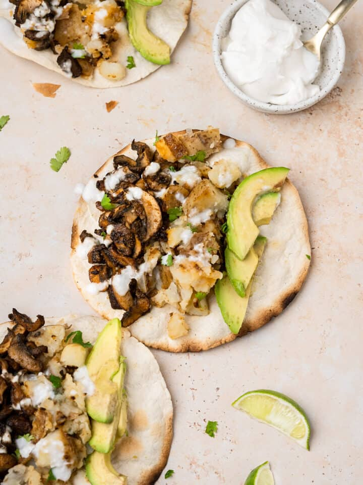 mushroom and potato tacos on toasted tortillas