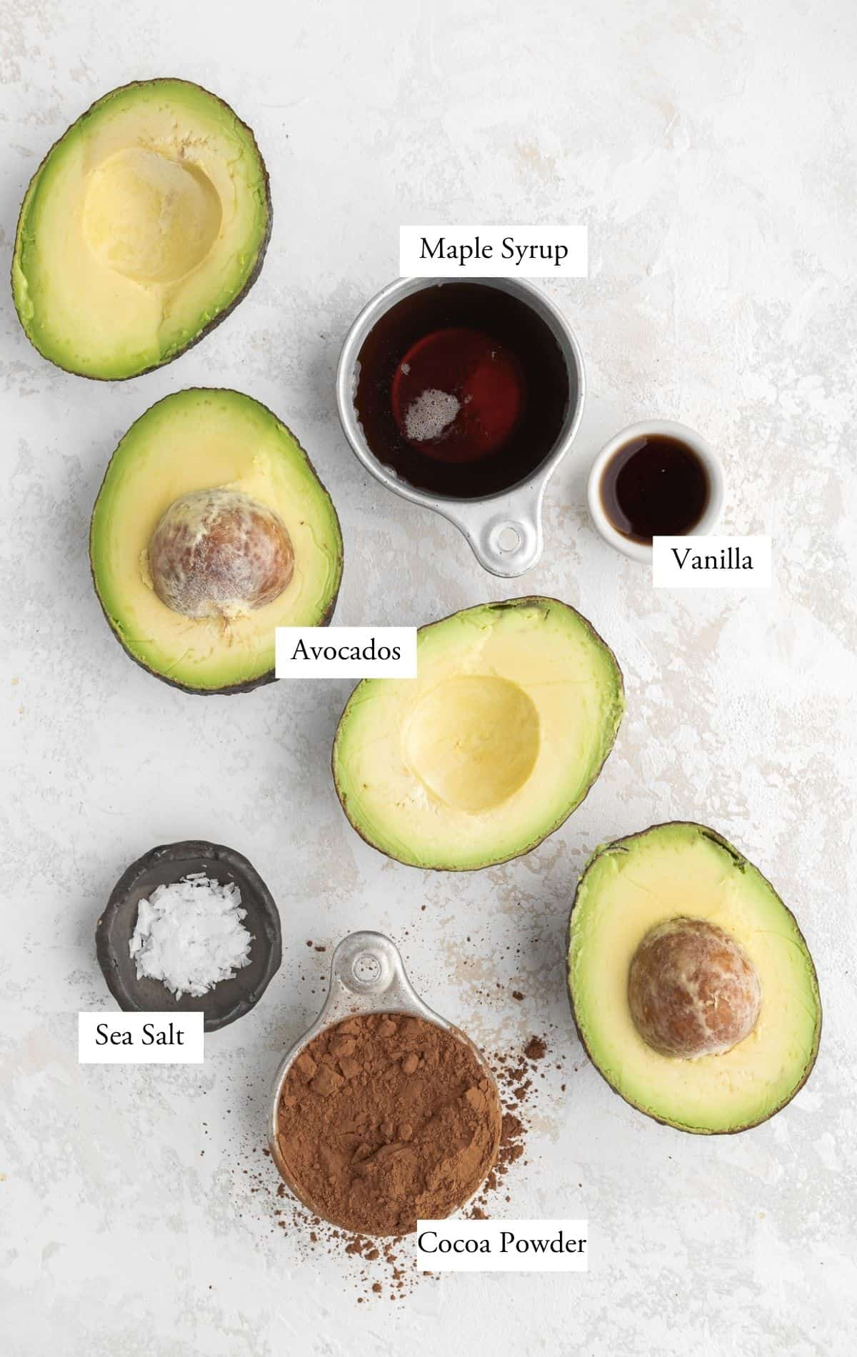 chocolate avocado mousse ingredients: cocoa powder, avocado, sea salt, vanilla, and maple syrup