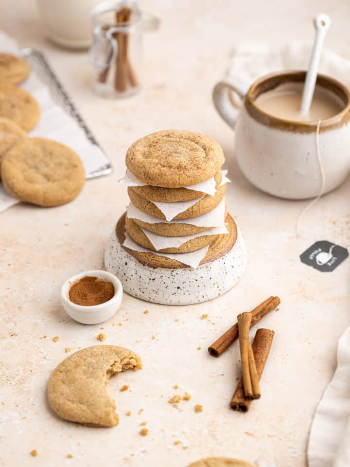 a stack of chai brown sugar cookies