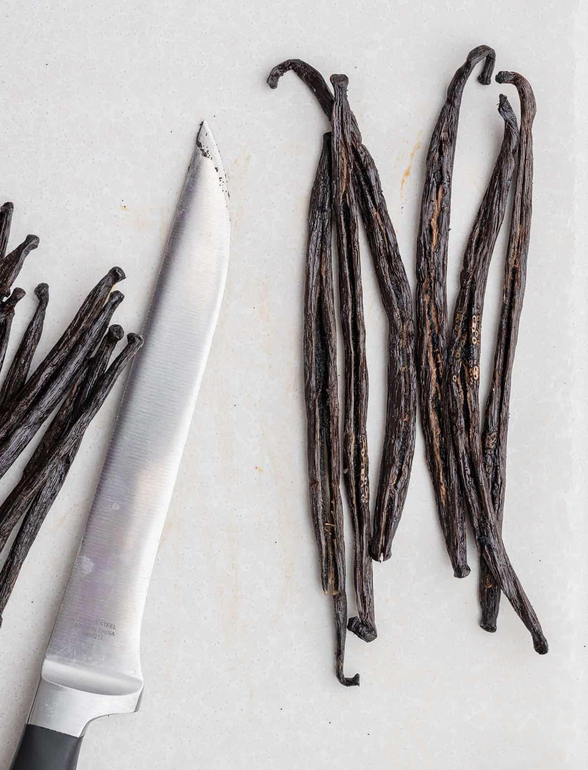 madagascar vanilla beans sliced in half