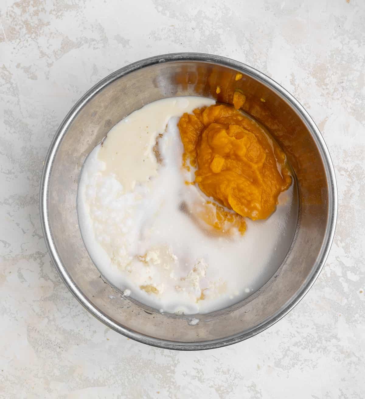 coconut oil, pumpkin puree, flax eggs, brown sugar, sugar, buttermilk in a bowl